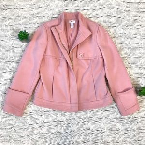 {Chico's} Blush Pink Crop Zip Coat Jacket